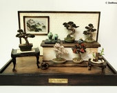 Bonsai Trees set, Vintage miniature Dollhouse 1/12 (BMS10)