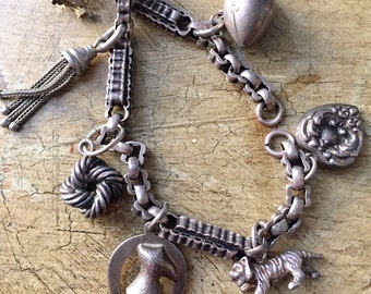 Antique Sterling Silver Victorian Watch Chain Charm Bracelet Chatelaine Charms Birdcage Football Tiger Horseshoe Sterling Repousse Heart