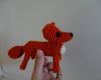 Fox toy wool baby kids orange white small