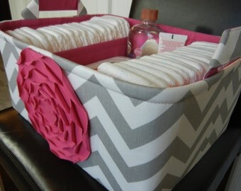 """Ex Large Diaper Caddy-14""""x 10""""x 7""""(CHOOSE COLOR)Two Dividers-Baby Gift-Fabric Storage Organizer-Chevron-""""Hot Pink Rose on Grey Zigzag"""""""