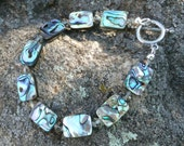 Abalone bracelet --  Gorgeous Ocean colors - greens, aquas, teal, whitewith crystal spacer beads