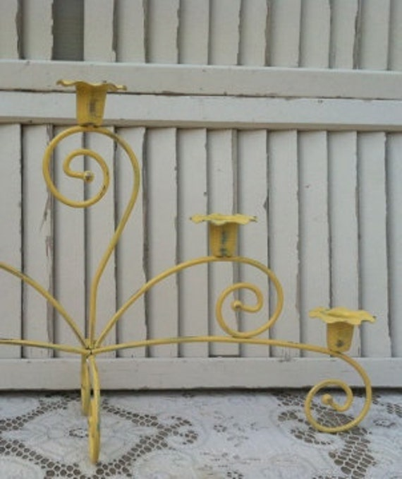 "Two 20"" Wide Yellow Candelabras / Shabby French Country Candleholder"