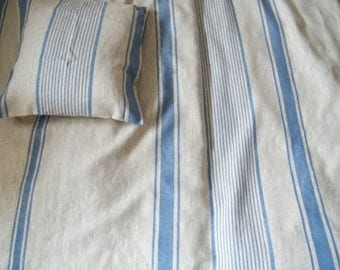 US Queen size duvet cover - protector -  Natural flax linen bedding - Blue stripes.