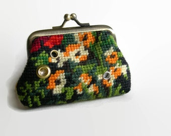 Handmade Embroidered Coin Purse. Mixed media Purse with Floral Tapestry Panel. Egg Yolk Yellow purse.