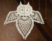 SALE 20% OFF: Crochet owl Hanging home decorations Crochet ornament White owl Linen Symbol of knowledge and learning Children room decor