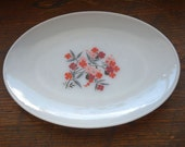Vintage Fire King oval platter in the Primrose pattern with pink & red flowers