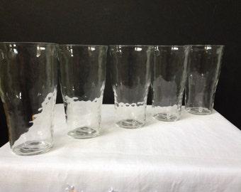"Federal Glass - Depression Glass - Raindrops - ""Optic Design"" - Tumblers -  10 oz. - 1930's -  Set of Five"