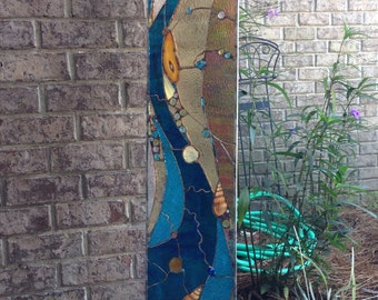 Stained Glass Abstract  Transom Window Suncatcher Panel