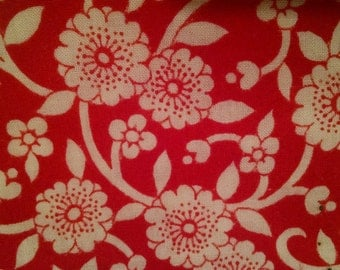 Red and White Calico Fabric