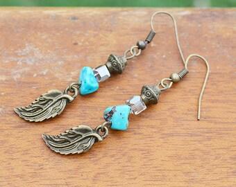 Boho Turquoise Earrings handmade gemstone leaf pendants dangle drop stone natural jewelry