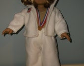 Gymnastic outfit, gold leotard, white warm up suite/pants and hoodie and gold medal for 18inch American Girl doll by Project Funway on Etsy