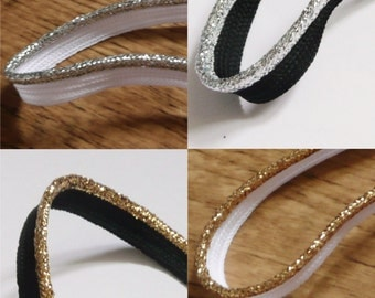 flanged insert piping cord - Silver & Gold Metallic lurex - sold by the metre