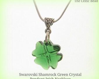 Beautiful Swarovski Green Shamrock Crystal and Silver Irish Necklace