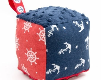Soft Block Baby Toy - Navy and Red Nautical Anchors and Ship Wheels Soft Block - Ready to Ship