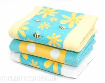 Baby Burp Cloths - Yellow and Aqua Daisy Flowers Burp Cloth Set of 3 - READY TO SHIP