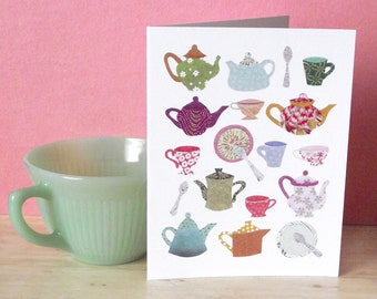 Afternoon Tea - Greeting card designed with Japanese paper collage