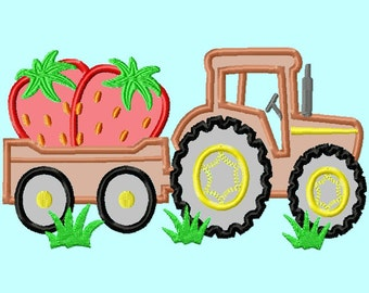Tractor and wagon with Strawberries APPLIQUE Embroidery Design   INSTANT DOWNLOAD