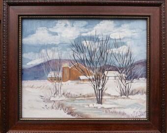 Original Acrylic Painting Framed - Snow Scene with Barn - by Marji Stevens