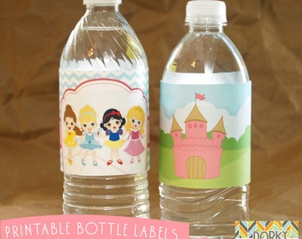 Princess Birthday Party Printable Bottle Labels PDF - Printable Party Supplies - Princess Party DIY