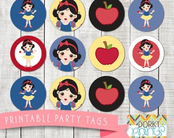 Snow White Birthday Party Printable Circle Tags PDF - Printable Party Supplies - Princess Party DIY