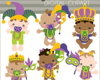 Mardi Gras Clipart -Personal and Limited Commercial Use- MardiGras Babies Clip art