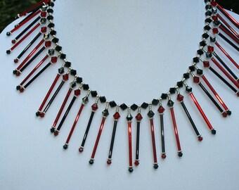 Black Red Fringe Necklace Vintage Black Red Glass Swarovski Crystals Handcrafted Vintage