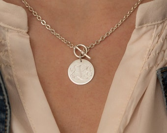 Sterling silver necklace etsy monogram toggle necklace sterling silver necklace front toggle style for women bridesmaid present mozeypictures Images