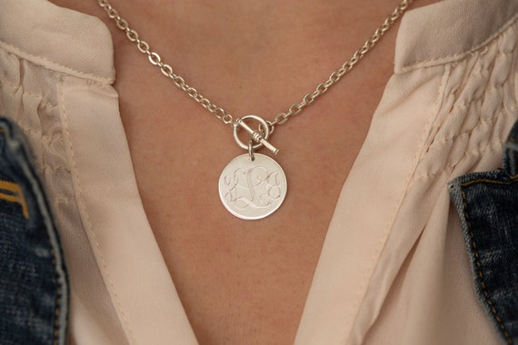 Monogram Toggle Necklace Sterling Silver Necklace Front Toggle
