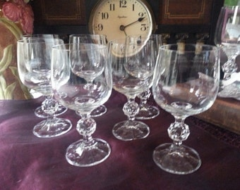 Beautiful Set of 7 Bohemia Crystal Wine Glasses in the Claudia Pattern