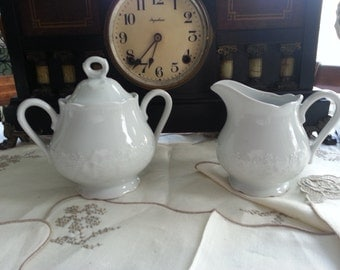 Dansk Ivy Covered Sugar Bowl and Creamer Set, made in France