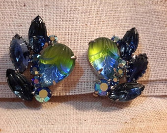 Likely Juliana Clip Earrings, Blue Rhinestones with Glass Cabachons on Silver Tone Metal