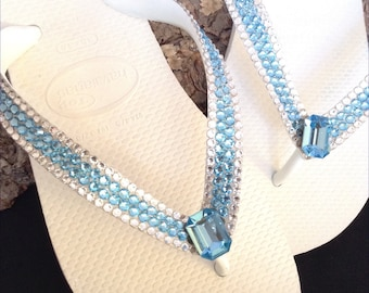 Custom Crystal flip flops Aqua Blue w/ Swarovski Rhinstone Jewels Havaianas flat Cariris Wedge Heel Beach Wedding Bling Thong Sandals Shoes