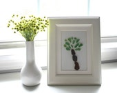 Sea Glass Art, Tree/Palm Tree in White Frame