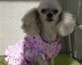 Dog Clothes, An Adorable Puppy Dress, Medium Size in Pink with Pretty Little Hearts with a Bright Red Bow.