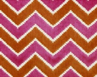 Cut Velvet Upholstery Fabric - Pink Orange Velvet Chevron -  Modern Orange Zig Zag Fabric -  Raspberry Tangerine Fabric - Heavyweight Woven