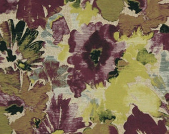 Purple Yellow Floral Upholstery Fabric - Modern Floral Fabric for Dining Room Chairs - Contemporary Floral Purple Pillow Covers