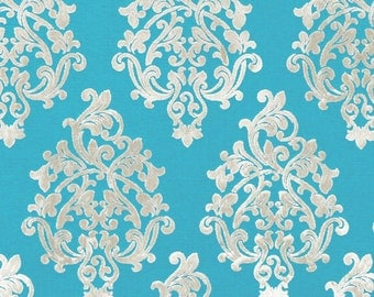 Turquoise Velvet Damask Upholstery Fabric - Modern Medallion Furniture Fabric - Dark Turquoise Velvet Pillow Cover - Modern Damask Online