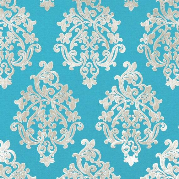 Turquoise Velvet Damask Upholstery Fabric Modern Medallion