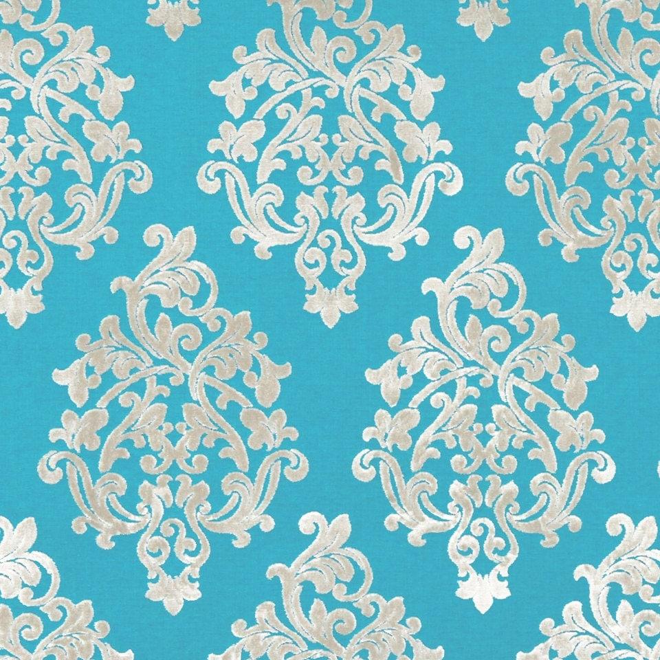 Turquoise Velvet Damask Upholstery Fabric Modern Medallion Furniture Fabric Dark Turquoise