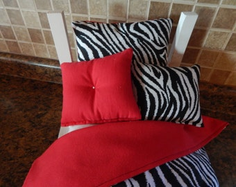 """4 Piece Bedding set American Girl, 18"""" doll bed Zebra stripe and Red"""