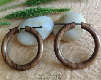 "Tribal Hoops, Stick Post Earrings, ""Keely"" 100% Natural, Sono Wood"