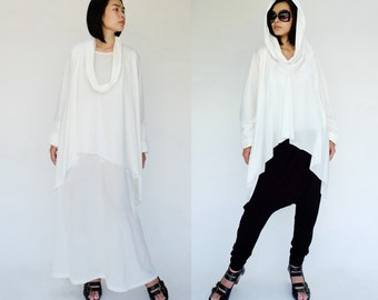 NO.158 Off White Cotton-Blend Jersey Slouchy Pattern Top & Dress