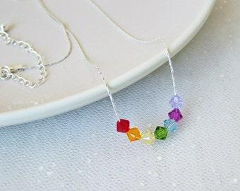 Rainbow Swarovski Crystal Sterling Silver Necklace