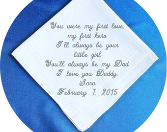 Father of the  Bride  Heirloom Embroidered, Personalized Hanky, Gift, Handkerchief