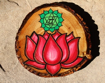 Hand Painted Heart Chakra Symbol wi th Lotus Flower - Talisman ...