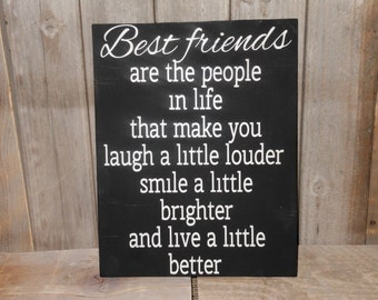 Best Friends are.. Solid Wood Sign