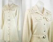 "Vtg 60's – 70's Long Sleeve Beige military Shirt Dress silver studding ""fit & flare"" Medium"