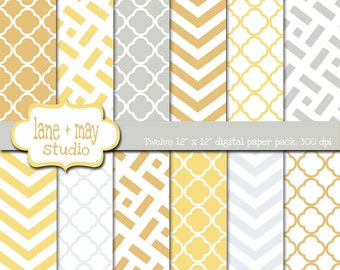 digital scrapbook papers - yellow and gray chevron and quatrefoil patterns - INSTANT DOWNLOAD