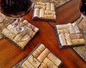 4 Slate Wine Cork Coasters - Perfect for Bridesmaid & Wedding Gifts