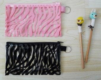 Black or  Pink CLEAR PVC zipper pencil case, pencil pouch,bag, glasses case, cosmetic bag, rectangle shaped, waterproof, zebra prints,animal